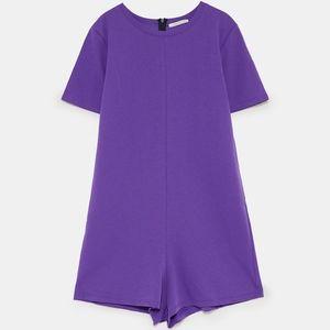 Zara Short Sleeve Jumpsuit Romper Onesie Purple S